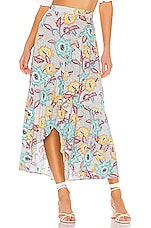 BCBGeneration Midi Ruffle Skirt in Off White Floral