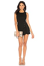 BCBGeneration Lace Up Skirt Overlay Romper in Black