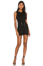BCBGeneration Sleeveless Front Lace Up Romper in Black