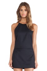 High Neck Slip Tank in Dark Navy