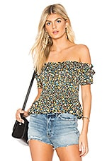 BCBGeneration Smocked Crop Top in Blue Multi