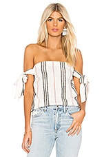 BCBGeneration Cami Tie Sleeve Tube Top in Cream Combo