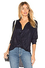 BCBGeneration Wrap Hem Blouse in Dark Navy Combo