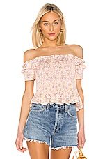 BCBGeneration Smocked Off Shoulder Top in Rose Smoke