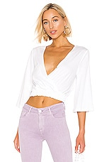 BCBGeneration Surplice Knit Top in Optic White