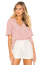 BCBGeneration Pleat Front Short Sleeve Top in Red
