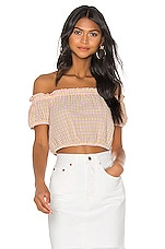 BCBGeneration Off The Shoulder Puff Sleeve Top in Multi