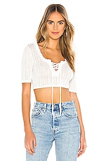 BCBGeneration Lace Up Short Sleeve Top in Optic White