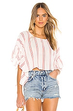 BCBGeneration Rectangle Ruffle Sleeve Top in Optic White