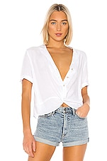 BCBGeneration Boxy Button Down in Optic White