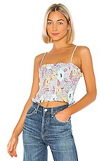 BCBGeneration Smocked Spaghetti Strap Cropped Top in Off White