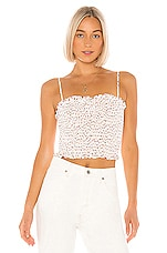 BCBGeneration Smocked Crop Top in Off White