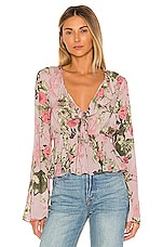 BCBGeneration Bow Front Long Sleeve Top in Multi