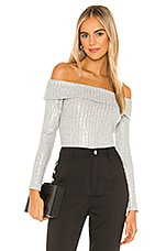 BCBGeneration Off The Shoulder Knit Top in Metallic Multi Combo