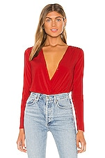 BCBGeneration Surplice Bodysuit in Electric Red