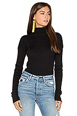 Ribbed Mock Neck Long Sleeve Sweater in Black