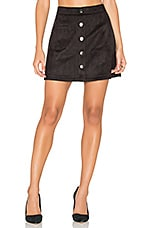 Suede Button Down Mini Skirt in Black