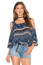 Cold Shoulder Peasant Top en Imprimé Cachemire Bleu
