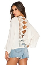 Lace Back Long Sleeve Blouse in Ivory