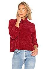 BLANKNYC Chenille Turtleneck Sweater in Ruby
