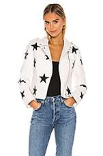 BLANKNYC Vegan Leather Star Patch Moto Jacket in Kick Off