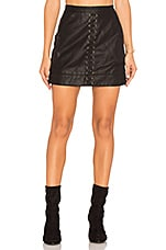 Lace Up Faux Leather Skirt in Boy's Soul
