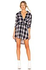 Bella Dahl Asher Plaid Fray Pocket Shirt Dress in Pink & Black