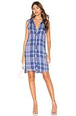 Bella Dahl Ruffle Shirt Dress in Crown Blue