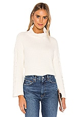 Bella Dahl Cable Sleeve Turtle Neck in Winter White