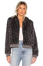 Bella Dahl Reversible Faux Fur Bomber Jacket in Grey Leopard