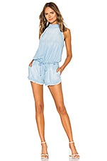 Bella Dahl Frayed Romper in Laguna Blue Wash