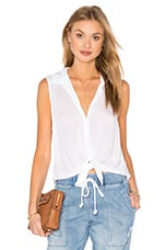 Sleeveless Button Down Check in White