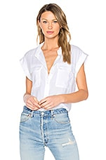 Crop Button Up in White