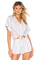 Bella Dahl Cap Sleeve Tie Up Blouse in Sunburst Stripes