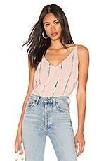 Bella Dahl Stripe Stamped V Neck Cami in Serie Rose