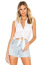 Bella Dahl Frayed Tie Up Button Down Blouse in White