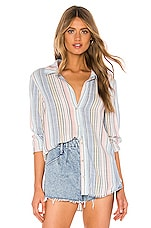 Bella Dahl Fray Hem Button Down in Ombre Horizon Stripe