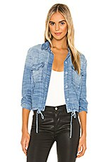 Bella Dahl Tie Waist Utility Shirt Jacket in Oceanside Wash