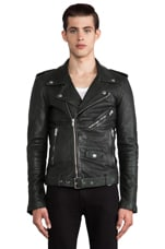 BLK DNM Leather Jacket 5 in Pine Green