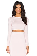 Long sleeve Crop Top in Light Pink