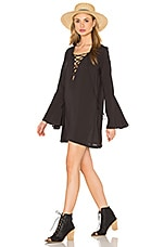 Lace Up Tunic Dress en Soft Black
