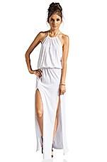 Two Slit Halter Dress in White