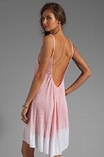 Tie Dye V Neck Babydoll Dress in Apricot/White