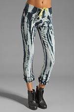 Fitted Sweat Pant in Black/White Tie Dye