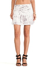 Mini Smocked Skater Skirt in White Snake