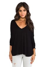 V Neck Thermal Top in Faded Black