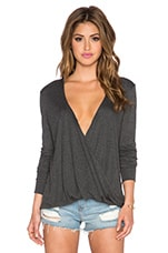 Long Sleeve Cassidy Top en Charcoal