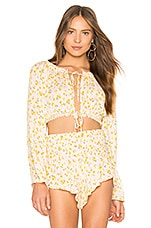 Blue Life Tropicana Tie Front Top in Oopsie Daisy Mellow Yellow