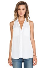 Bella Luxx Pocket Button-Up Tank in White