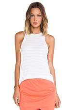 Shadow Stripe Slouchy Tank in White